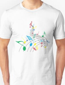 Colorful Music Notes on a Swirl Design Unisex T-Shirt