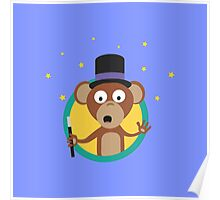 Monkey wizard with stars Poster