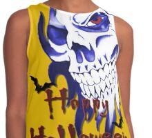 Happy Halloween, skeleton, skull, demonic eyes, face, bats 4 Contrast Tank