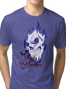 Happy Halloween, skeleton, skull, demonic eyes, face, bats 4 Tri-blend T-Shirt