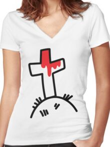 The Bloody Cross Women's Fitted V-Neck T-Shirt