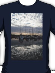 Silvery Boat Reflections - the Marina and the Pearly Clouds T-Shirt