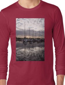 Silvery Boat Reflections - the Marina and the Pearly Clouds Long Sleeve T-Shirt