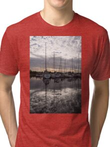 Silvery Boat Reflections - the Marina and the Pearly Clouds Tri-blend T-Shirt
