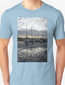 Silvery Boat Reflections - the Marina and the Pearly Clouds Unisex T-Shirt
