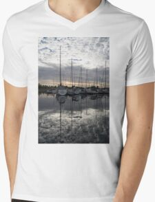 Silvery Boat Reflections - the Marina and the Pearly Clouds Mens V-Neck T-Shirt