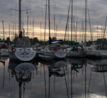 Silvery Boat Reflections - the Marina and the Pearly Clouds Sticker