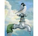Chickadee realistic bird portrait on old water faucet painting by LindaAppleArt