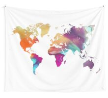 World map watercolor  Wall Tapestry