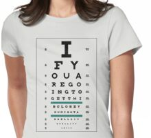 Hug Eye Chart (Clear back) Womens Fitted T-Shirt