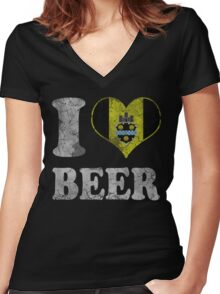 I Heart Pittsburgh Beer Women's Fitted V-Neck T-Shirt