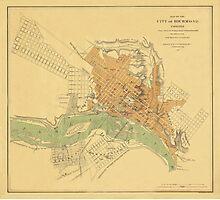 Map of Richmond 1864 Photographic Print