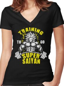 Training To Go Super Saiyan - Broly Women's Fitted V-Neck T-Shirt