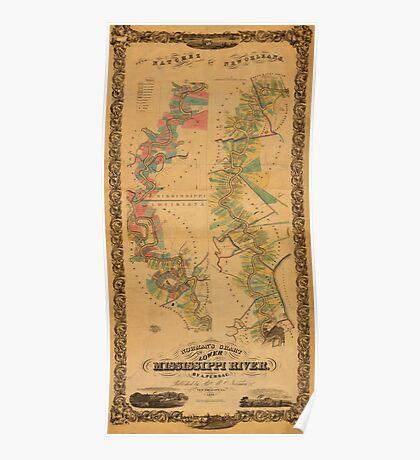 Map of Mississippi River 1858 Poster