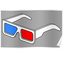 3D Glasses T Shirt  Poster
