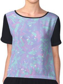 Cool Colors (Blue and Red) Abstract Paint Design Chiffon Top