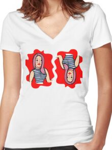 Fashion girl portrait illustration Women's Fitted V-Neck T-Shirt