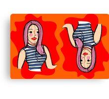 Fashion girl portrait illustration Canvas Print