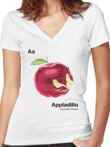 Aa - Appladillo // Half Armadillo, Half Apple Women's Fitted V-Neck T-Shirt