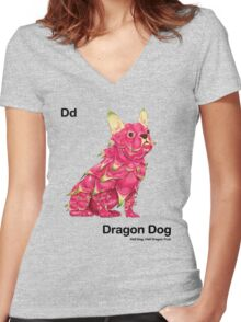 Dd - Dragon Dog // Half Dog, Half Dragon Fruit Women's Fitted V-Neck T-Shirt