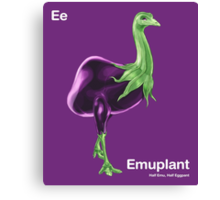 Ee - Emuplant // Half Emu, Half Eggplant Canvas Print