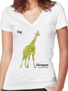 Gg - Girappe // Half Giraffe, Half Grape Women's Fitted V-Neck T-Shirt