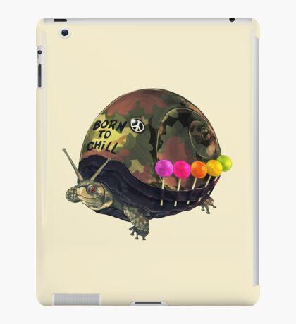 """Born to Chill"" Full Metal Snail Turtle iPad Case/Skin"