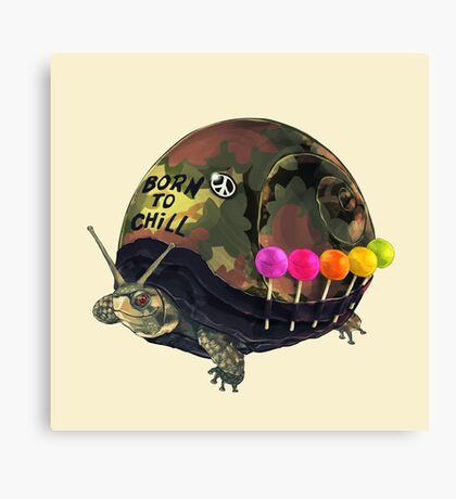 """Born to Chill"" Full Metal Snail Turtle Canvas Print"