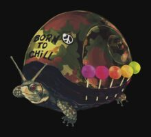 """Born to Chill"" Full Metal Snail Turtle Kids Tee"