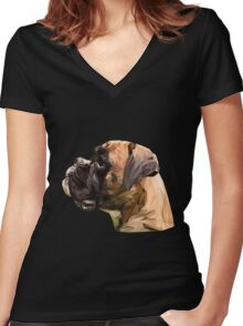 Boxer low poly. Women's Fitted V-Neck T-Shirt