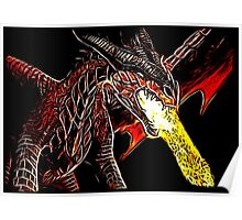 Big Red Angry Fire Breathing Fractal Dragon Design Poster
