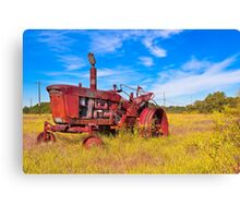 Old Tractor in its Golden Years - Autumn Landscape Canvas Print