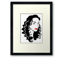 Black and white fashion girl portrait illustration. Framed Print