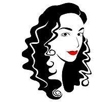 Black and white fashion girl portrait illustration. Photographic Print