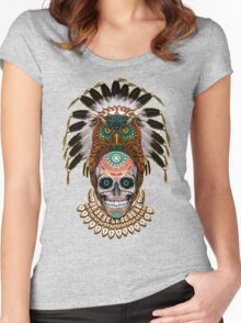 indian native Owl sugar Skull Women's Fitted Scoop T-Shirt