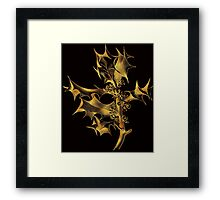 Golden holly leaves and berries Christmas art line drawing Framed Print