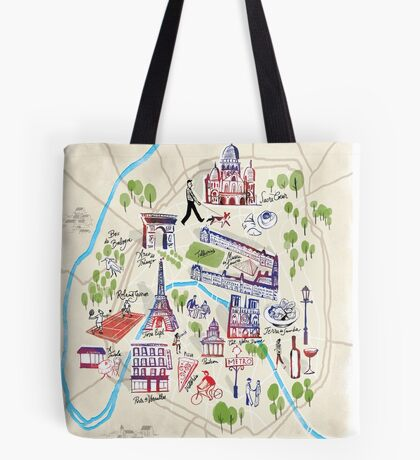 Paris illustrated Map Tote Bag
