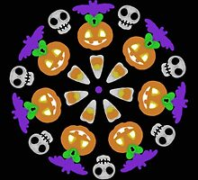 Halloween Pumpkin Mandala Wheel by Sophersgreen