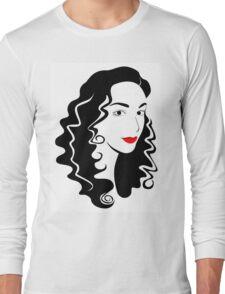 Black and white fashion girl portrait illustration. Long Sleeve T-Shirt