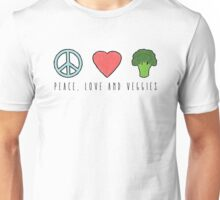 Peace, Love and Veggies Unisex T-Shirt