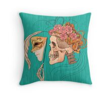 illustration with skull holding a human face mask Throw Pillow