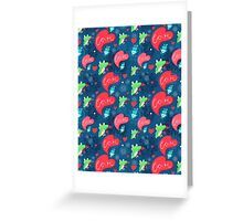 Graphic pattern with frog lovers Greeting Card