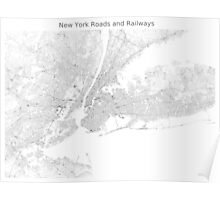 New York Roads and Railways Map Poster