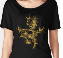Golden holly leaves and berries Christmas art line drawing Women's Relaxed Fit T-Shirt