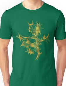 Golden holly leaves and berries Christmas art line drawing Unisex T-Shirt