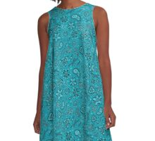 Cartoon Microbes - Teal A-Line Dress