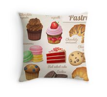 Danish,pastry,french,cookies,macaroons,chocolate croissant, cup cake, food hipster, modern,trendy Throw Pillow