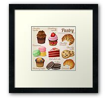 Danish,pastry,french,cookies,macaroons,chocolate croissant, cup cake, food hipster, modern,trendy Framed Print