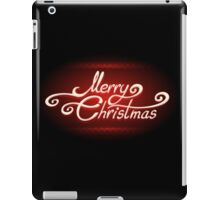 Hand-written Merry Christmas Lettering on Red background iPad Case/Skin