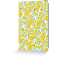 Banana pattern on turquoise background Greeting Card